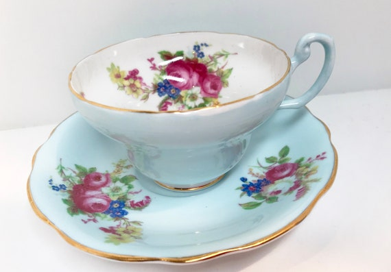 EB Foley Teacup and Saucer, Blue Foley Tea Cup, Blue Teacups, Antique Tea Cups Vintage, English China Cups, Antique Teacups Vintage, Teatime