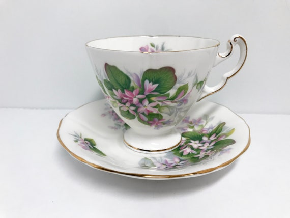 Mayflower Pattern, Royal Adderley Teacup and Saucer, Floral Tea Cups, English Bone China Tea Cups, Vintage Tea Cups, Vintage Teacups