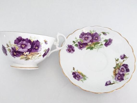 Crownford Teacup and Saucer, Pansy Teacups, Antique Tea Cups, Pansy Tea Cups, Vintage Tea Cups, Floral Tea Cups, English Teacups