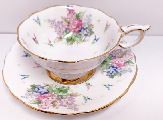 Royal Stafford Teacup and Saucer, Royal Stafford Cup, English China Cups, Antique Tea Cups, Antique Teacups, Gold Cups, Floral Cups