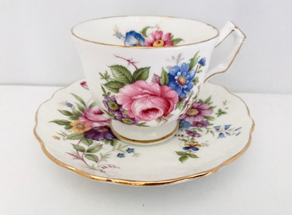 Floral Teacup and Saucer by Aynsley Bone China, Floral Tea Cups, Aynsley Tea Cups, Vintage Tea Cups, Vintage Teacups, Aynsley Teacups