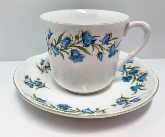 Bluebell Teacup, Crown Staffordshire Teacup and Saucer, English Teacups, Antique Tea Cups Vintage, English Bone China Teacups, Teatime
