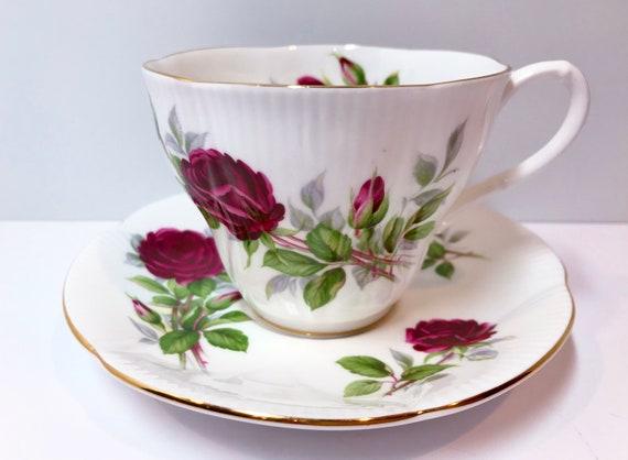 Royal Albert Tea Cup and Saucer, Royal Canadian Rose Pattern, English Bone China Cups, Antique Tea Cups Vintage Teacups Antique, Red Rose