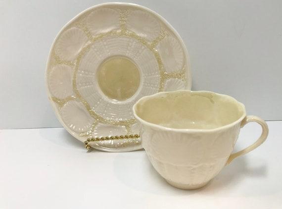 Belleek Tea Cup and Saucer, New Shell Tea Ware Cup,  Irish Tea Cup, Shell Belleek China, Green Mark Belleek, Belleek Teacups Vintage
