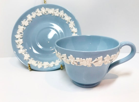 Wedgwood Tea Cup and Saucer, Queensware Tea Cup, Vintage Tea Cups, Blue White Cups, Wedgwood Cups, Cream on Lavender, Blue Wedgwood