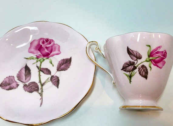 Rose Marie by Royal Standard Tea Cup and Saucer, Pink Rose Cups, Antique Teacups, English Bone China, Floral Teacups Vintage, Teatime