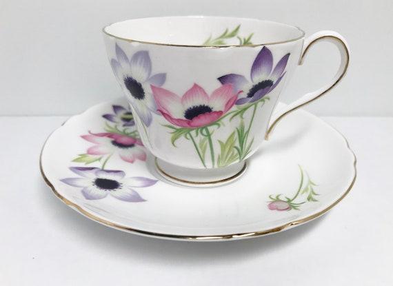 Shelley Teacup and Saucer, Anemone Pattern, Shelley China, Shelley Tea Cups, Shelley Floral Tea Cups, Richmond Shape, Teatime Tea Cups