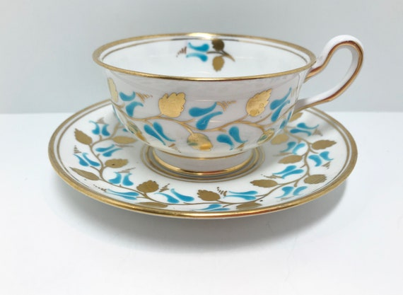 Royal Chelsea Teacup and Saucer, English Bone China Cups, Hand Painted Cups, Antique Teacups, Aqua Gold Cups,  Antique Tea Cups Vintage