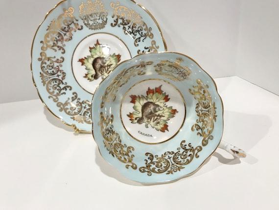 Aqua Paragon Tea Cup and Saucer, Canadian Tea Cup, Beaver Tea Cup, Bone China Cups, Antique Tea Cups Vintage