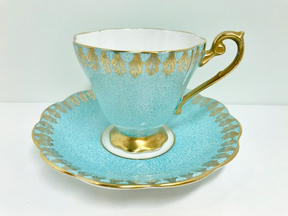 Royal Standard Tea Cup and Saucer, Aqua Gold Cups, Antique Teacups, English Bone China Cups, Tea Cups Vintage, Made in England, Gift for Her