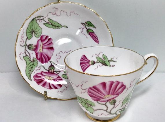 Tuscan Teacup and Saucer, Tuscan Tea Cups, Floral Teacups, Vintage Teacups, Morning Glory Tea Cup, Teatime Tea Cups