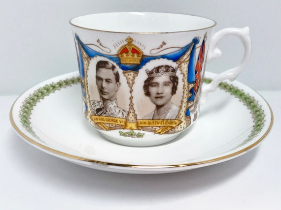 Royal Teacup and Saucer, King George, Queen Elizabeth, Royal Visit, Aynsley Teacup, Antique Teacups Vintage, WWII, English Royalty Teacup