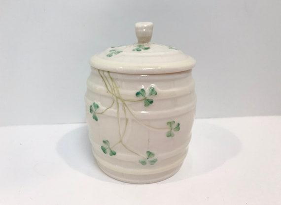 Belleek Honey Jar, Shamrock Jar, Belleek Barrel, Shamrock Container, Irish Porcelain, Belleek Shamrocks, Belleek Container