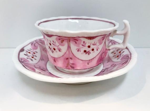 Wishbone Handle Teacup, Georgian Teacup,  Lustreware Teacup, Hand Painted Teacups, Antique Teacups Vintage