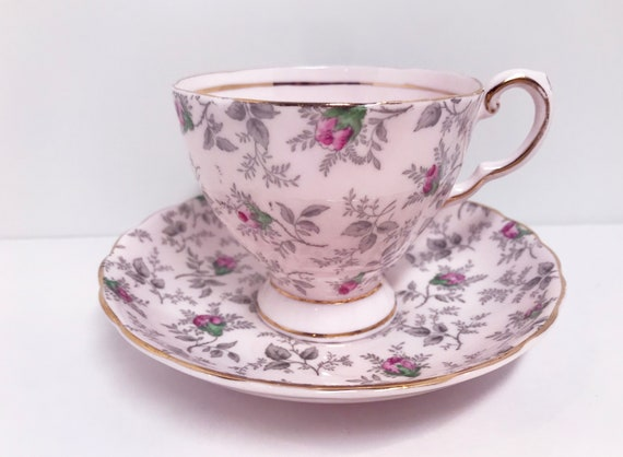 Pink Chintz Tuscan Tea Cup, Pink Tea Cups, Vintage Tea Cups, Antique Tea Cups, English Bone China Tea Cups, Bridal Shower Gift, English Cups