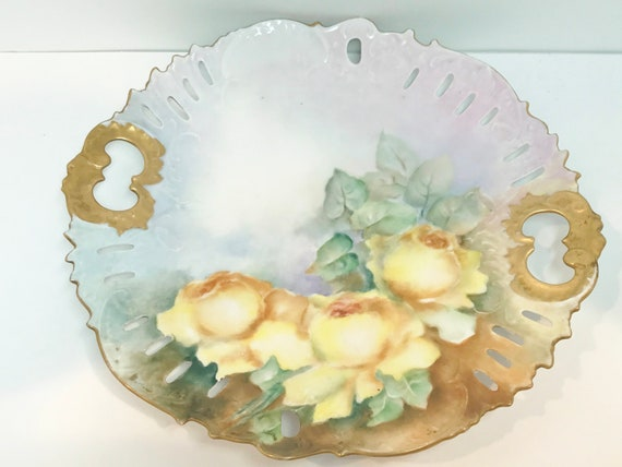 Cake Plate, Antique Plate, Victorian Hand Painted Plate, Yellow Rose Plate, Artist Signed Plate