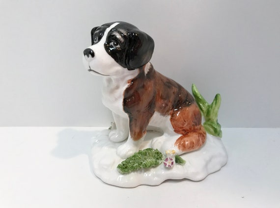 Saint Bernard Figurine, Saint Bernard Puppy, Hand Decorated Dog, Hand Painted Animal, Bone China Dog, Bone China Saint Bernard, Loving Puppy