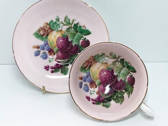 Strawberry Teacup, Royal Grafton Teacup and Saucer, Antique Teacup, English Bone China Cups, Fruit Tea Cups, Pink Fruit Teacup