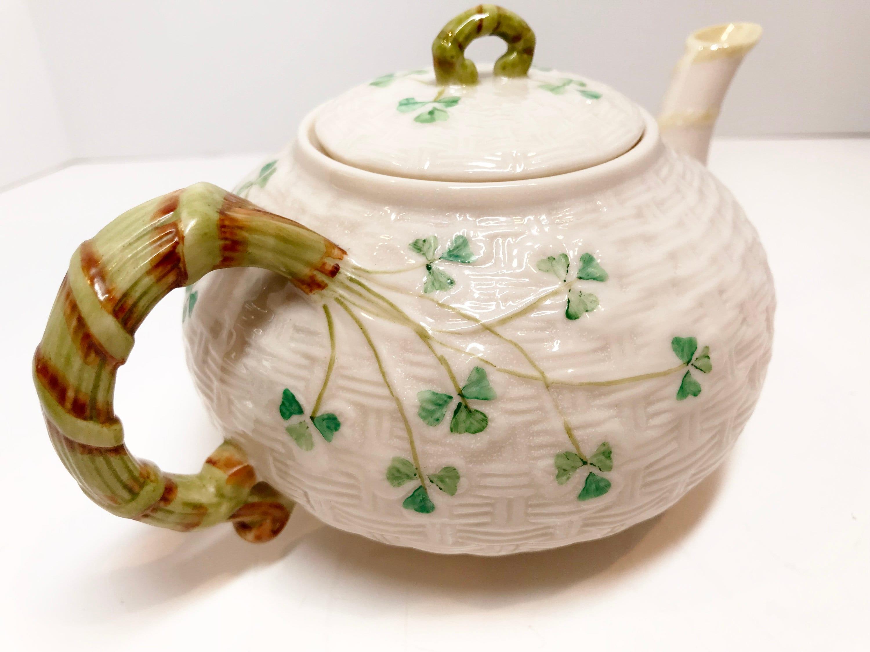 Small Shamrock Belleek Teapot, Irish Teapot, Belleek China