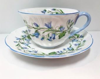 Harebell Shelley Teacup and Saucer, 13590 Oleander Shape, Shelley China, English Teacups, Antique Teacups Vintage