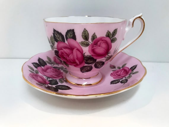 Queen Anne Teacup and Saucer, Queen Anne Cups, Pink Tea Cups, Vintage Teacups, Vintage Tea Cups, Pink Teacup, Rose Teacups