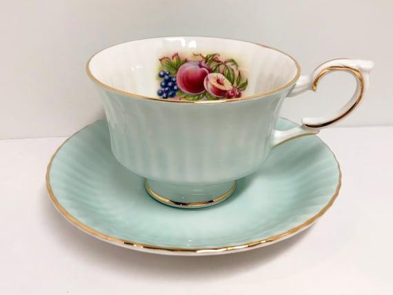 Royal Standard Tea Cup and Saucer, Fruit Tea Cup, Antique Tea Cups Vintage, Pale Aqua Tea Cup, Antique Teacups, Vintage Tea Cups