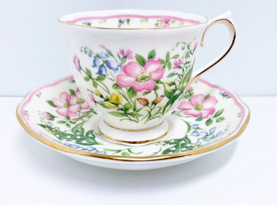 Royal Albert Teacup and Saucer, Morning Dew Pattern, Country Bouquet Collection, Antique Tea Cups Vintage, Vintage Teacups
