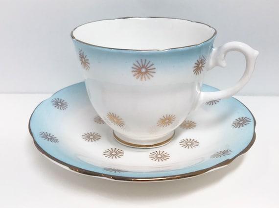 Atomic Tea Cup and Saucer,  English Castle Tea Cups, Antique Teacups, Vintage Tea Cups, Blue Tea Cups, Tea Party, English Bone China