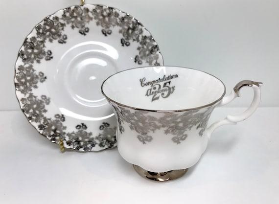 Silver Royal Albert Teacup, Montrose Shape, Tea Cups Vintage, English China Cups, Silver Anniversary, Vintage Teacups, 25th Anniversary Gift