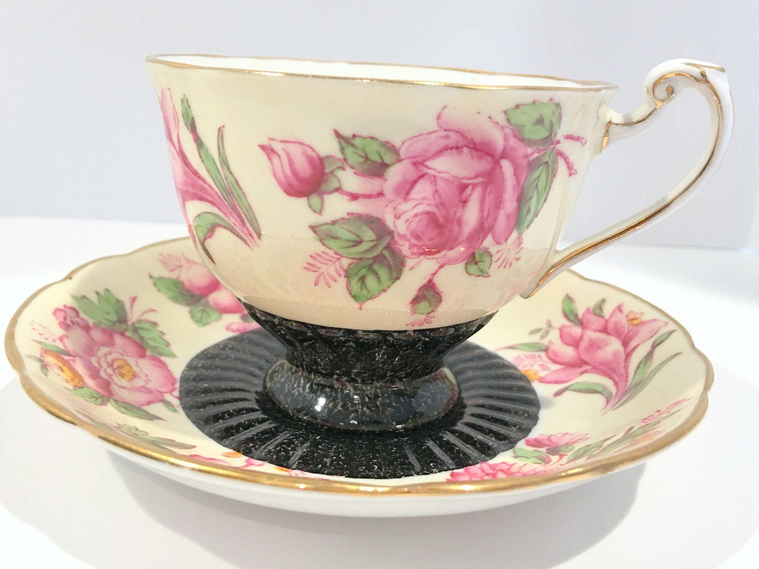Pink Florette Roslyn Tea Cup and Saucer, Pink Flower Cups