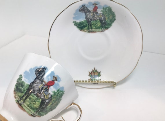 Mounties Tea Cup and Saucer, Mounted Police Teacup, Royal Windsor Teacup, Antique Tea Cups Vintage, Canadian Tea Cups, Canadian Mountie