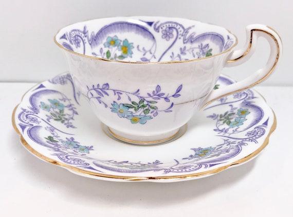 Spencer Stevenson Teacup and Saucer, Regina Pattern, Lilac Teacups, Purple Tea Cups Antique Teacups, English China Cups, Vintage Tea Cups