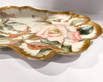 Antique Vanity Tray, Hand Painted Vanity Tray, English Bone China Pin Tray, Serving Tray, Vanity Accessory, Porcelain Tray, Rose Vanity Tray