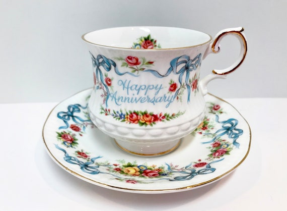Happy Anniversary Queens Tea Cup and Saucer, Ribbon Tea Cups, Antique Teacups, Anniversary Ribbon, Antique Tea Cups Vintage, Vintage Teacups