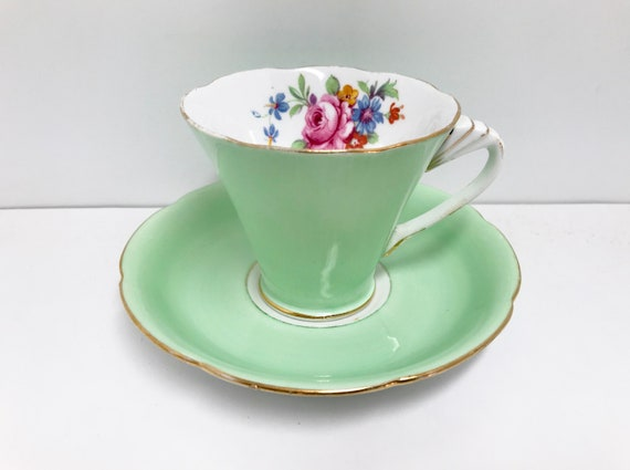 ABJ Grafton Teacup and Saucer, Antique Teacups Vintage, Floral Teacups, Art Deco Teacup, Antique Tea Cup