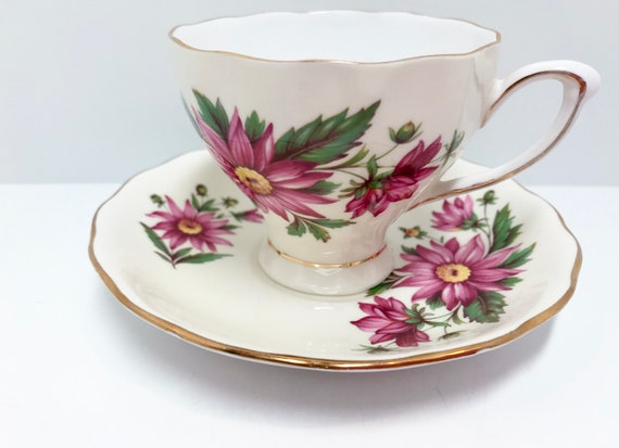 Colclough Teacup and Saucer, Floral Tea Cups, English Teacups, Antique Tea Cups Vintage, Antique Teacups Vintage,  Bone China Tea Cup