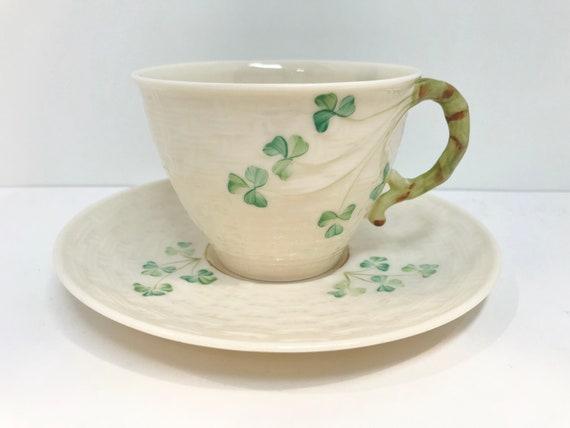 Shamrock Belleek Teacup and Saucer, Irish Tea Cup, Basket Weave Belleek China, Irish Porcelain, Green Mark Belleek, Belleek Tea Cup
