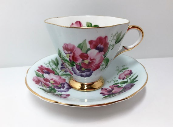 Clarence Teacup and Saucer, Sweet Pea Pattern, Floral Teacups, April Birth Cup, Antique Tea Cups Vintage , English China, Antique Teacup