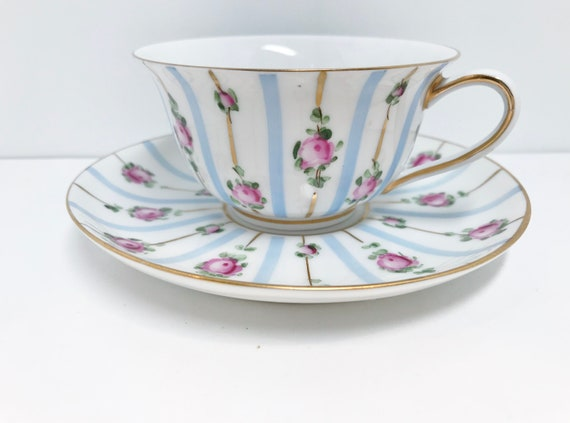 French Limoges Teacup and Saucer, Hand Painted Limoges, Antique Limoges, Vintage Limoges, Limoges Tea Cups
