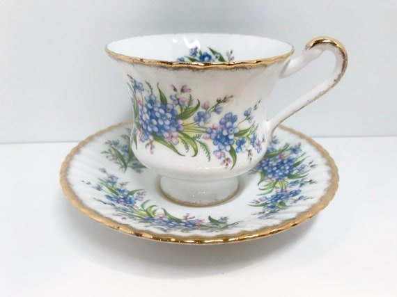 Forget Me Knot Teacup and Saucer by Paragon Bone China, Paragon Teacup, Paragon Tea Cups, Vintage Tea Cups, Vintage Teacups