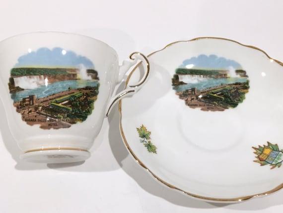 Niagara Tea Cup and Saucer, Niagara Falls Cup, Regency Teacup and Saucer, China Tea Cups, Antique Teacups, Antique Tea Cups