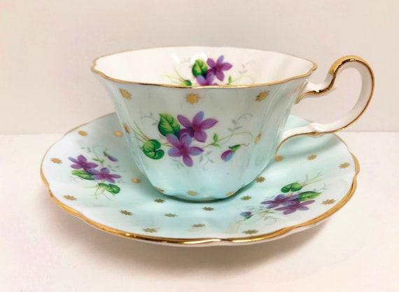Adderley Teacup, Violet Teacups, Turquoise Teacups, Turquoise Gold Tea Cups, Antique Teacups Vintage, Antique Tea Cups Vintage