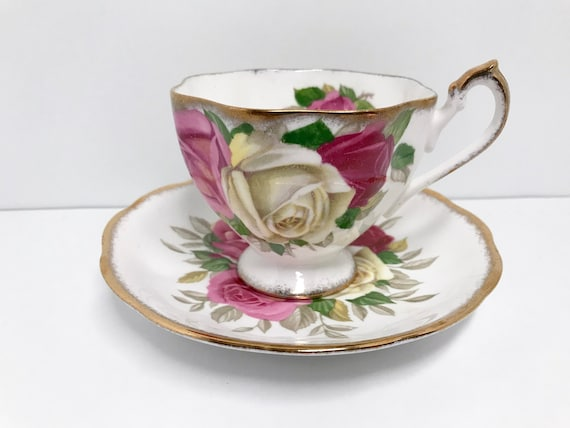 Lady Sylvia by Queen Anne Teacup and Saucer, English Bone China Cup, Big Rose Cups, Antique Tea Cups, Afternoon Tea, Teatime Teacups