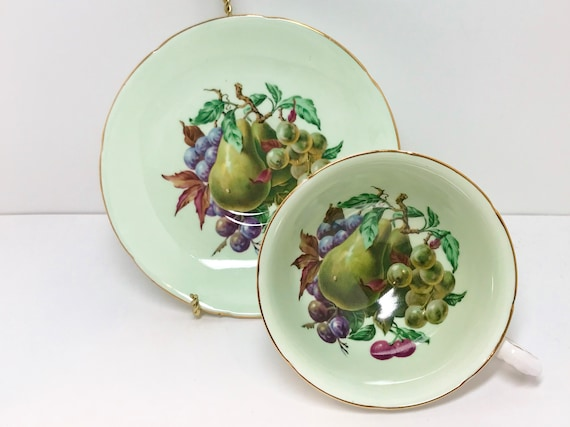 Royal Grafton Teacup and Saucer, Antique Teacup, English Bone China Cups, Fruit Tea Cups, Antique Tea Cups Vintage, Made in England