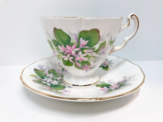 Adderley Tea Cup and Saucer, Mayflower Pattern, Antique Tea Cups, Violets Tea Cups, English China Cups, Canadian Flower