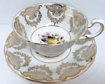 Pale Blue Paragon Teacup and Saucer, Hand Painted Tea Cup, Vintage Teacups, Teatime Teacups, Vintage Tea Cups