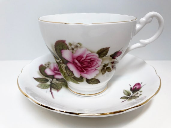 Royal Ascot Tea Cup and Saucer, Pink Rose Cups, English Bone China, Vintage Tea Cups, Antique Teacups, Made in England, Wedding Shower Gift