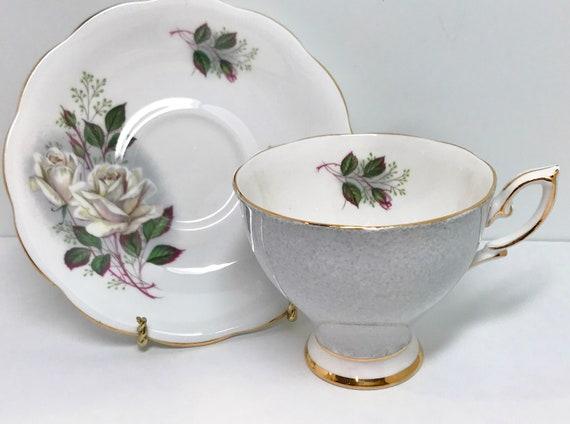 Royal Standard Teacup and Saucer, Gray Teacups, Vintage Teacups, English Bone China Cups, Friendship Cups, Vintage Tea Cups, Silver Teacups
