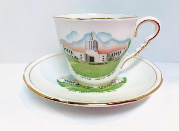 Oregon Teacup and Saucer, Royal Stafford Teacup, Salem Oregon Tea Cup, Antique Tea Cups Vintage, Old Salem Oregon, Housewarming Gift