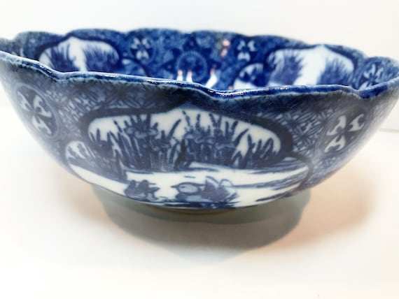 Chinese Export Bowl, Blue White Ware, Flow Blue Bowl, Chinese export porcelain, Chinese Bowl, Orange Peel Bowl, Chinoiserie Bowl